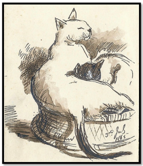 Greeting Card - Resting Cats in a Basket