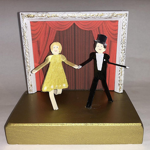 Miniature Dancers Statue Sculpture Diorama Handmade Created From Found Objects