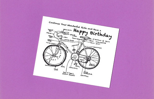 Birthday Greeting Card - Diagram of a Bicycle