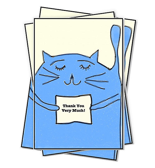 Blue Cat Thank You Note Cards Greeting Cards Boxed set of 5