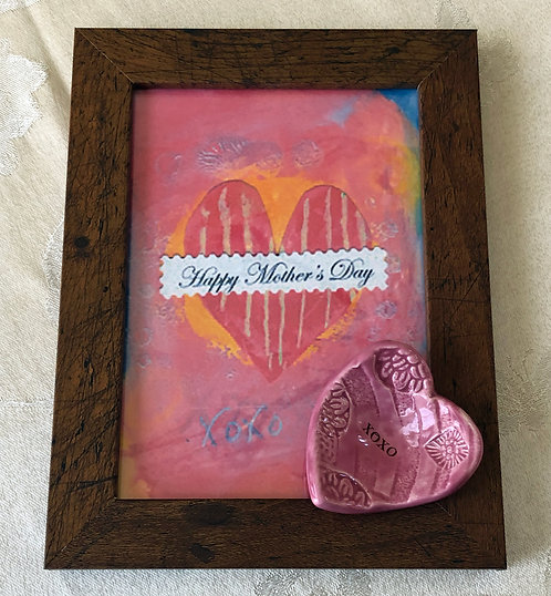Mother's Day Framed Original Print with Ceramic Dish and a Mother's Day