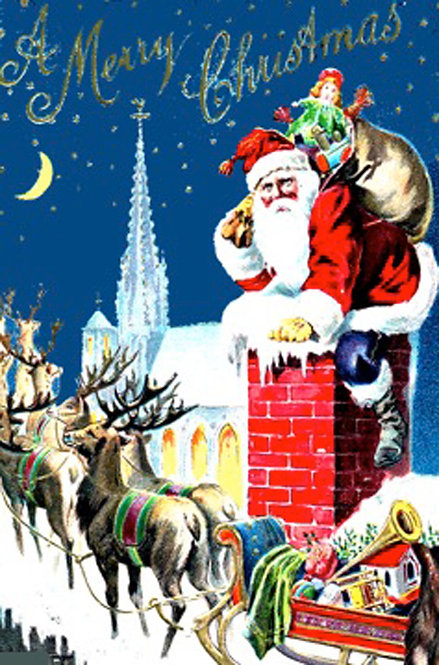 Christmas Card - Santa on the Chimney
