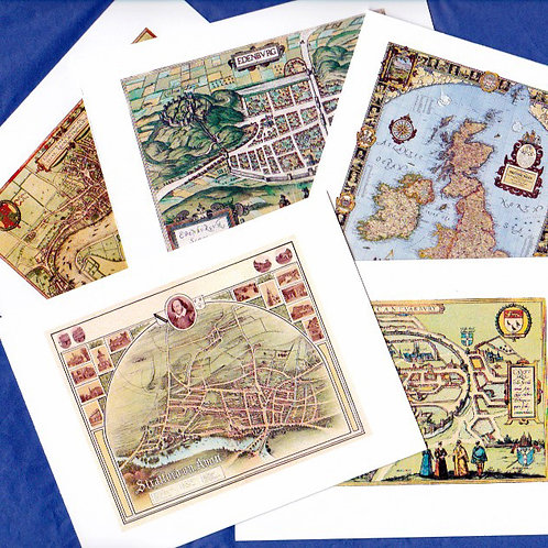 Boxed Set of 5 Note Cards of Antique Maps of the British Isles