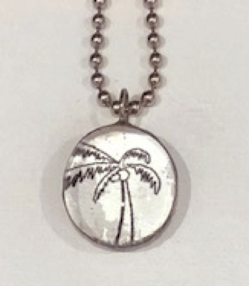 Palm Tree Soldered Pendant with Ball chain