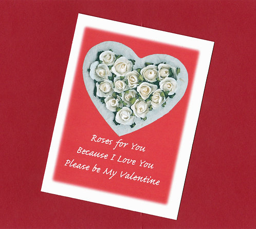 Valentine Greeting Note Card - Heart & Roses