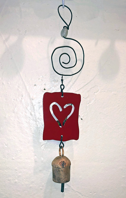Heart Cut-out Ornament Hanging Wind Chime by Jendala