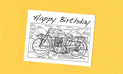 Birthday Greeting Card - Diagram of a Vintage Motorcycle