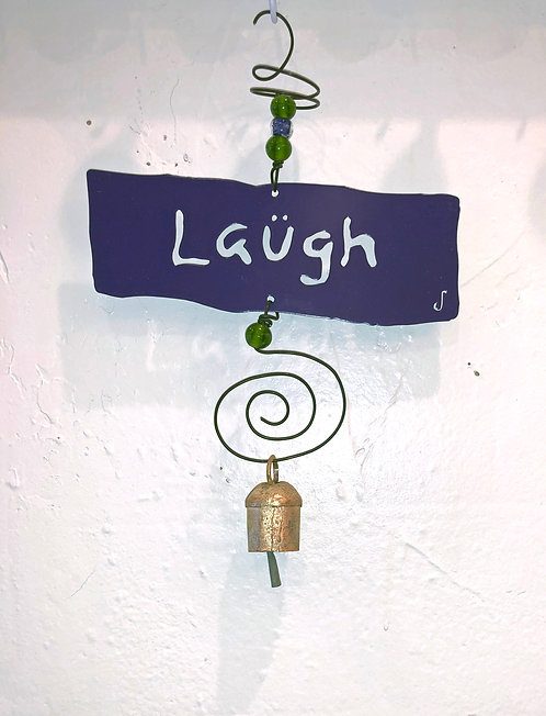 LAUGH Affirmation Hanging Wind Chime by Jendala