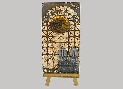 Notre Dame de Paris Remembrance Card Found Object Collage Metal Art Card with M