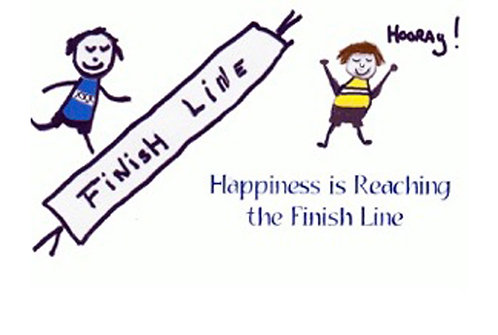 Greeting Card - Happiness is Reaching the Finish Line