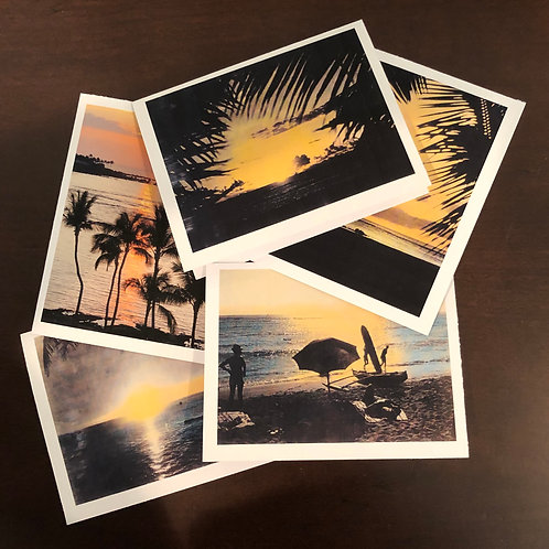 Colorful Hawaiian Sunsets Vintage Photos Note Cards Greeting Cards Boxed Set/5