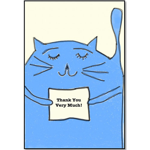Thank You with a Blue Cat