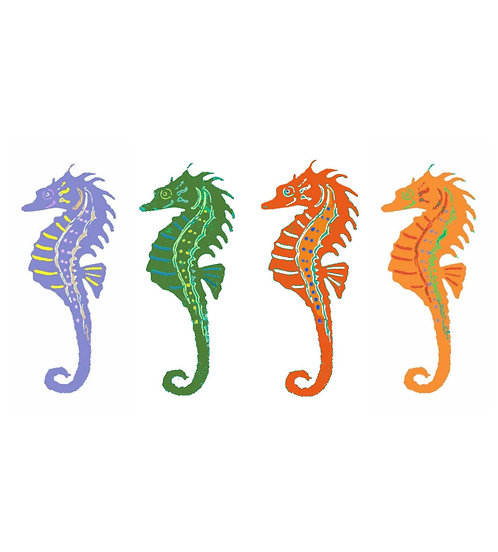 Large Note Card - Four Colorful Seahorses