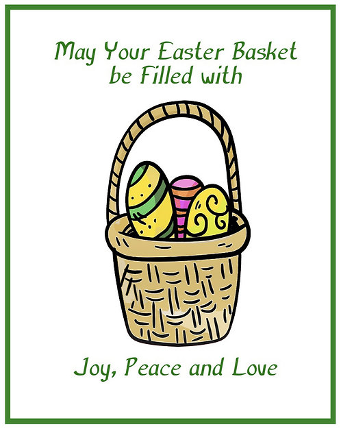 Easter Greeting Note Card - Basket Filled with Love