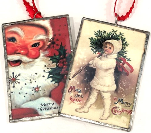 Handmade Santa/Vintage Girl Ornament