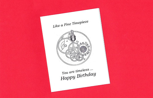 Birthday Greeting Card - Diagram of the Gears of a Classic Watch