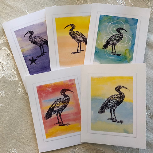 Ibis Art Note Cards Greeting Cards Boxed Set of 5