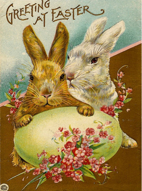 Easter Greeting Card - Greeting at Easter Bunnies