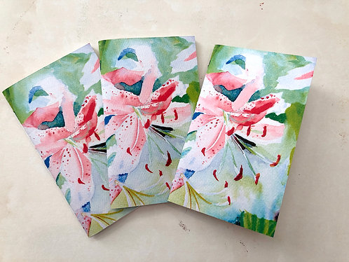 Pkg of 3 Handmade Pocket or Purse Sketch Notebooks Pink Lily Flower Covers 3x5