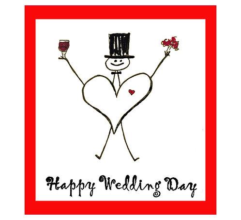 Wedding Greeting Note Card - Happy Wedding Day