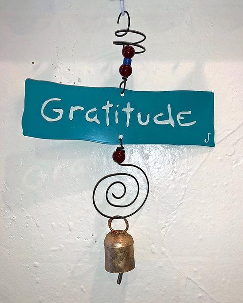 GRATITUDE Affirmation Hanging Wind Chime by Jendala