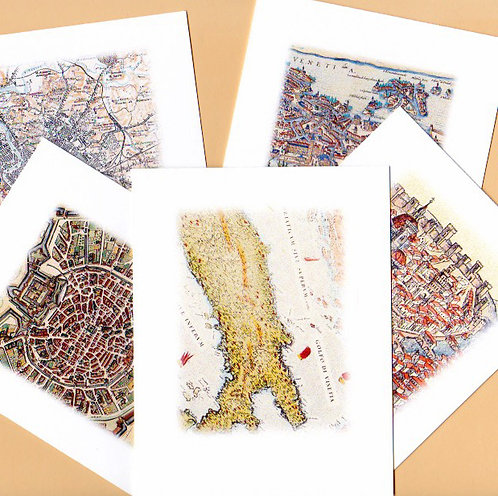 Boxed Set of 5 Note Cards of Antique Italian Maps