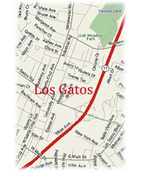 Greeting Card - Los Gatos Map