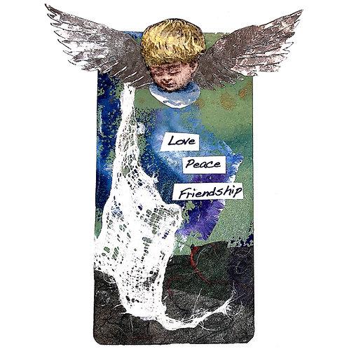 Greeting Card - Love Peace Friendship with Cherub