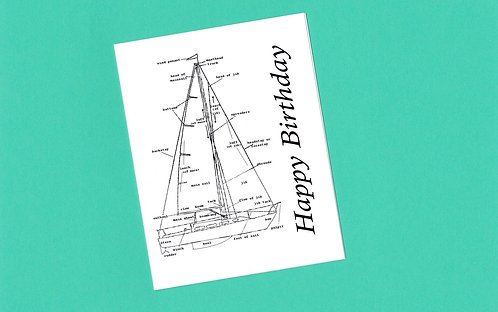 Birthday Card with the diagram of a Vintage Sailboat
