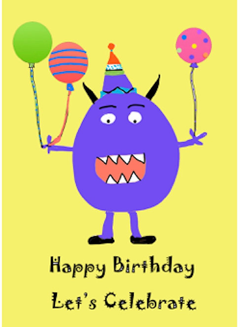 Birthday Card - Happy Birthday from the Purple Monster