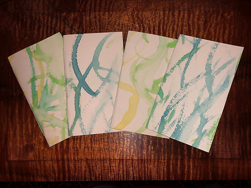 ONE Handmade Pocket or Purse Sketch Notebook Original Hand Watercolor Covers 3x5