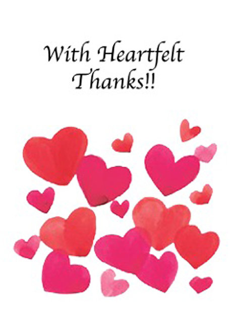 Thank You Greeting Card - With Heartfelt Thanks