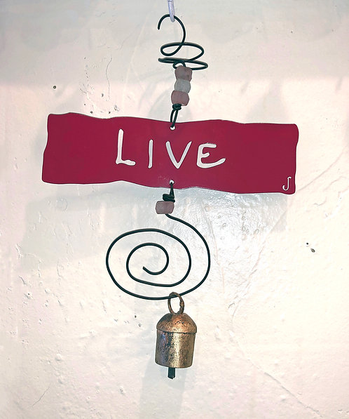 LIVE Affirmation Hanging Wind Chime by Jendala