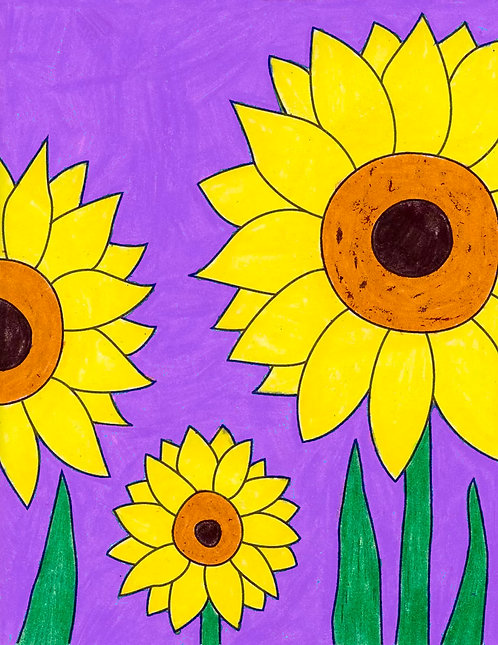 Greeting Note Art Card - Sunflowers on Purple