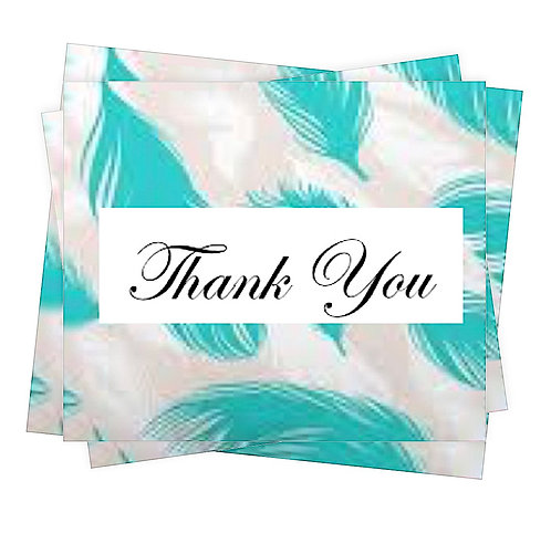 Thank You Note Cards Greeting Cards with Feathers Boxed set of 5