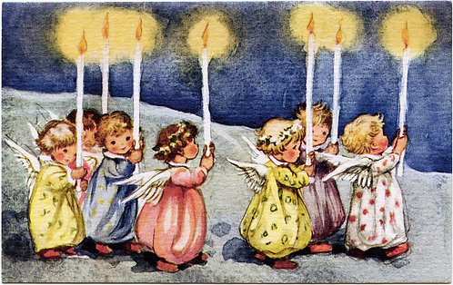 Christmas Card - Angels with Candles