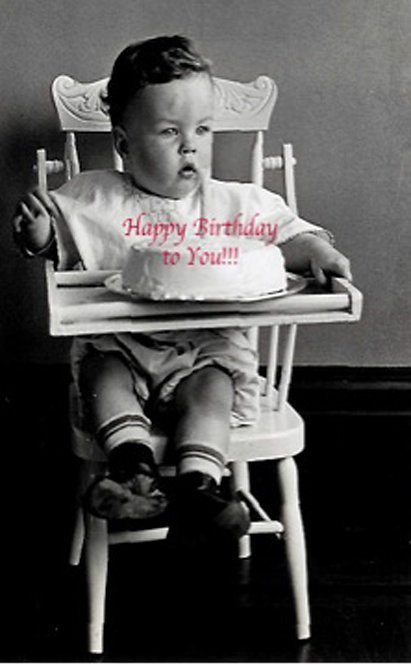 Birthday Card -Boy in High Chair Happy Birthday