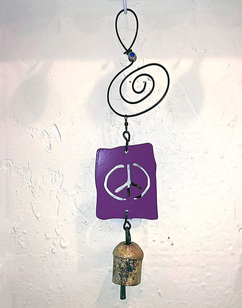 Peace Sign Ornament Hanging Wind Chime by Jendala