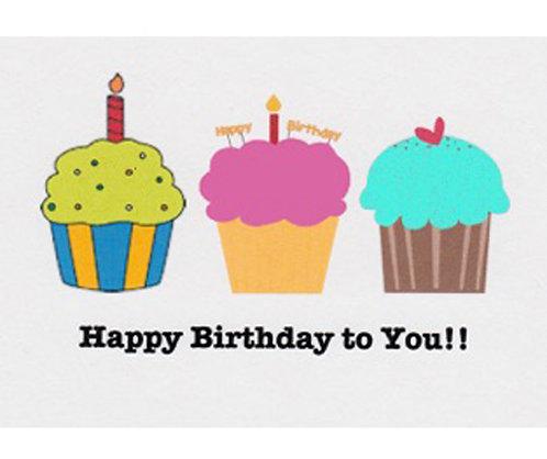 Birthday Card - Three Cupcakes