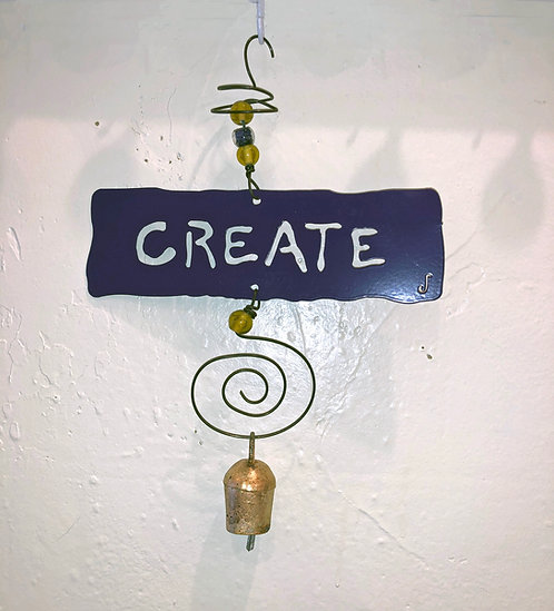 CREATE Affirmation Hanging Wind Chime by Jendala