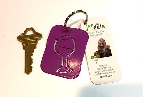 Wine Glass Keychain Key Ring with Ornament by Jendala