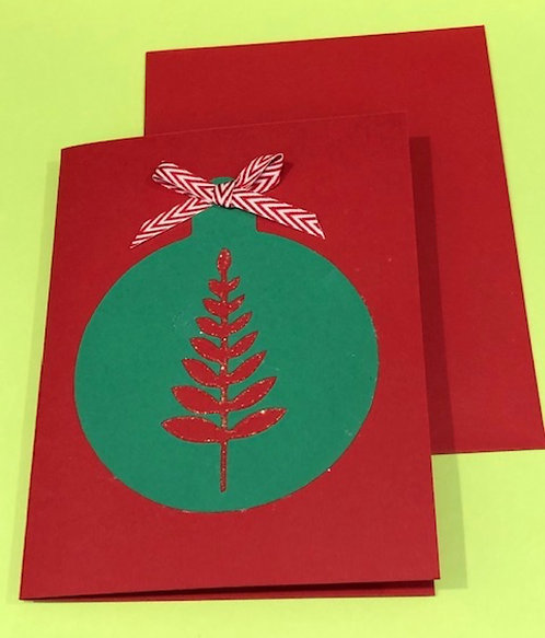 Handmade Holiday Card Green Ornament