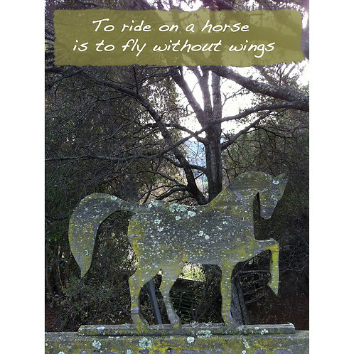 Greeting Card - To ride on a horse ... Tin Horse