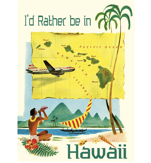 Greeting Note Card - I'd Rather be in Hawaii