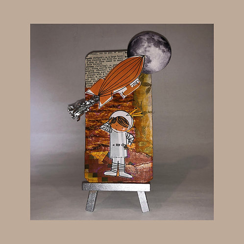 MOON FANTASY Found Object Collage Metal Art Card with Mini-Easel