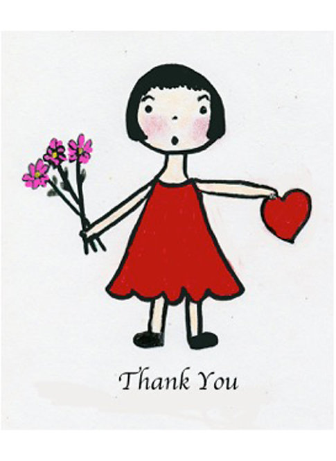 Thank You Card - Dark Haired Girl Thank You