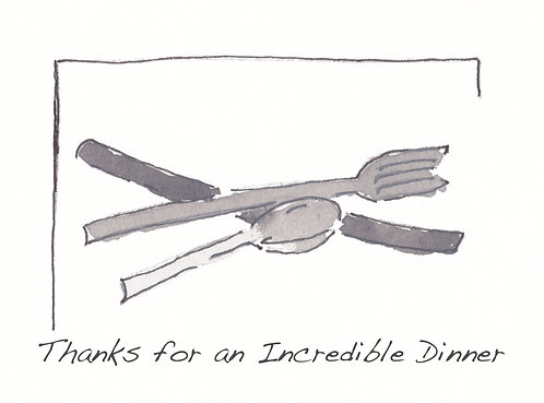 Thank You Note Art Card - Thank You for Dinner