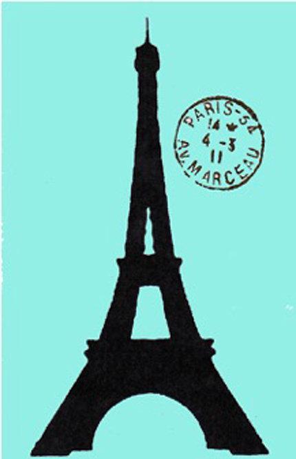 Greeting Card - Eiffel Tower on Blue