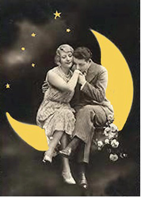Greeting Card - Man & Woman Sitting on the Moon