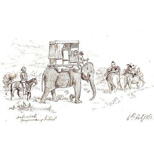 Large Note Card - Elephants on the Trail in India
